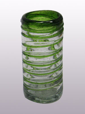 COLORED RIM GLASSWARE / 'Emerald Green Spiral' Tequila shot glasses (set of 6)